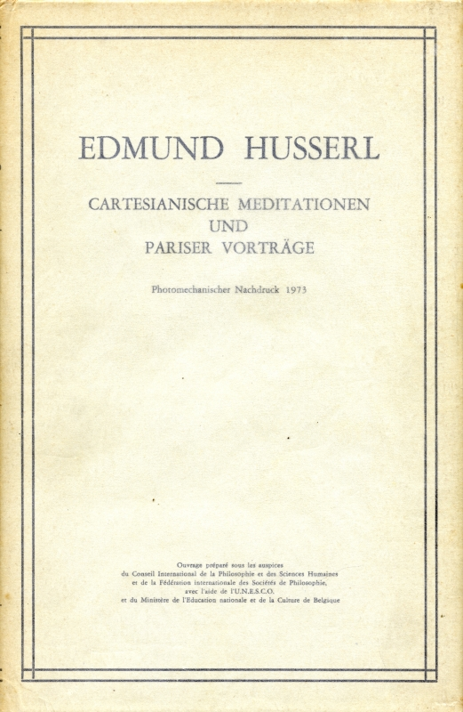 Cartesianische Meditationen und Pariser Vortrage
