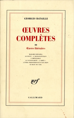 OEuvres completes 3 OEuvres litteraires