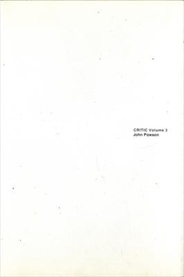 Critic Volume 3 Pawson House London 1995