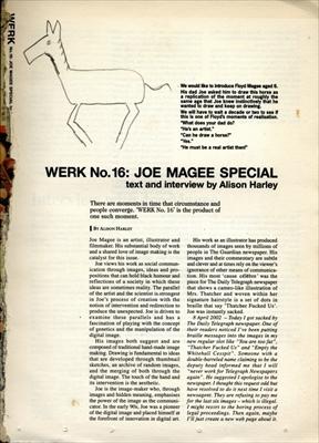 Werk magazine No. 16: Joe Magee Special